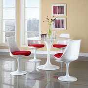 Modway Lippa 5 Piece Fiberglass Dining Set With 4 Side Chairs and One 48 inch Dining Table, Red by