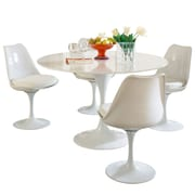 "Modway Lippa 5 Piece Fiberglass Dining Set With 4 Side Chairs and One 48"" Dining Table, White"