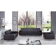 Modway Loft 3 Piece Leather Sofa Set, Chocolate
