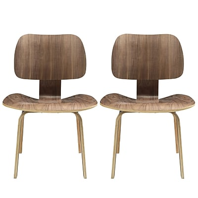 """""Modway Fathom 31 1/2""""""""H Plywood Dining Chair, Walnut, 2/Set"""""" 512252"