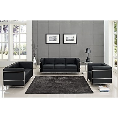 Modway Le Corbusier LC2 4 Piece Padded Leather Sofa Set, Black/Silver