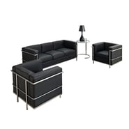 Modway Le Corbusier LC2 4 Piece Padded Leather Sofa Set, Black
