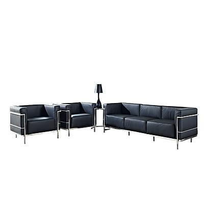 Modway Le Corbusier LC3 4 Piece Leather Sofa Set, Black 512150