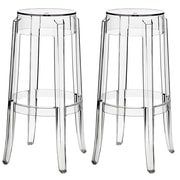 Modway Casper Acrylic Bar Stool, Clear, 2/Set
