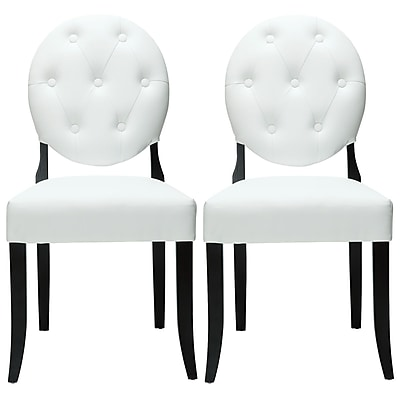 """""Modway Button 37 1/2""""""""H Padded Vinyl Dining Side Chair, White, 2/Set"""""" 512232"