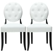 Modway Button 37 1/2H Padded Vinyl Dining Side Chair, White, 2/Set