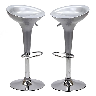Modway Ice Cream Fiberglass Bar Stool, Silver, 2/Set