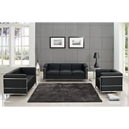 Modway Le Corbusier LC2 3 Piece Padded Leather Sofa Set With Loveseat, Black