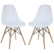 "Modway Pyramid 32 1/2""H Molded Plastic Dining Side Chair, White, 2/Set"