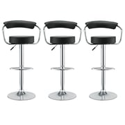 Modway Diner Leather Bar Stool, Black, 3/Set