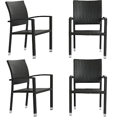 Modway Bella 4 Pieces Synthetic Rattan Outdoor Wicker Patio Dining Chair Set