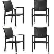 Modway Bella 4 Pieces Synthetic Rattan Outdoor Wicker Patio Dining Chair Set, Espresso