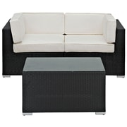 Modway Camfora 3 Piece Synthetic Outdoor Wicker Patio Sectional Sofa Set, Espresso/White
