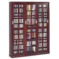 Leslie Dame Sliding Glass 3 Door Multimedia Cabinet; Dark Cherry