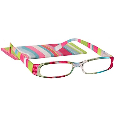 peeperspecs 174 prism stripes pink green blue reading glasses