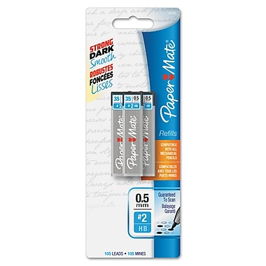 Paper Mate® Lead Refill, 0.5 mm, HB, Black, 105/Pack