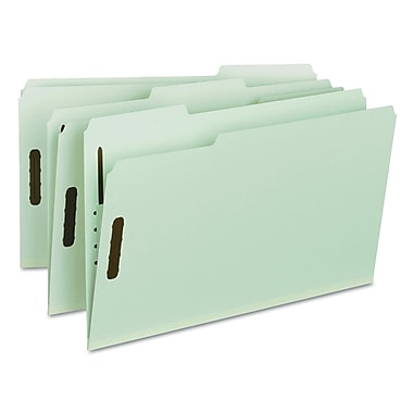 Smead® Legal 1/3 Cut Fastener Folder With 1in. Expansion, Gray/Green, 25/Box