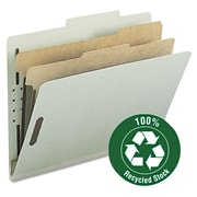 "Smead® Letter 2 Divider Pressboard Classification Folder With 2"" Expansion, Gray/Green, 10/Box"
