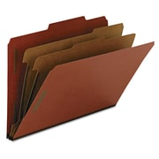 Smead® Legal 2 Divider Pressboard Classification Folder With 2 Expansion, Red, 10/Box