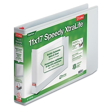 Cardinal® Tops™ Speedy XtraLife® 1 1/2in. Capacity Non-Stick Locking Slant Ring Binder, White