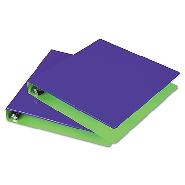 Samsill® Fashion Two-Tone 1in. Capacity Round Ring View Binder, Purple/ Lime
