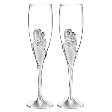 Hortense B. Hewitt, Sparkling Love Flute Glasses, Clear/Silver
