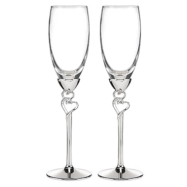 Hortense B. Hewitt, Entwined Hearts Flute Glasses, Clear/Silver