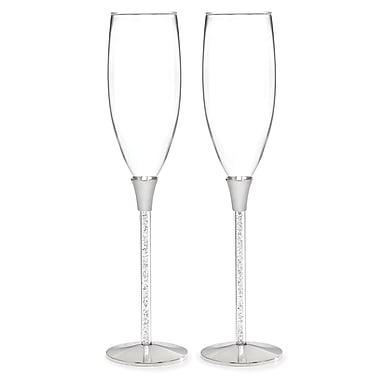 Hortense B. Hewitt, Glittering Beads Flute Glasses, Clear/Silver