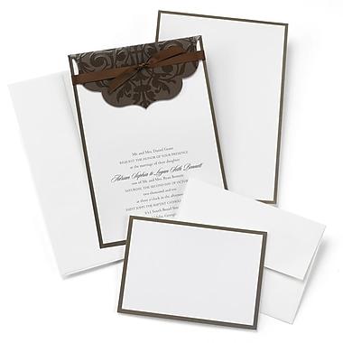 HBH™ Scalloped Top Wrap Invitation Kit, White/Brown