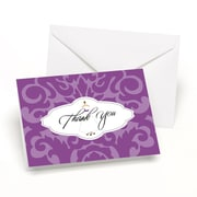 HBH™ Wedding Gown Damask Thank You Cards, White/Purple