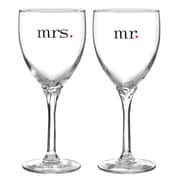 HBH™ Mr & Mrs Wine Glasses, Clear