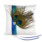"HBH™ 8"" x 8"" Peacock Plume Satin Ring Pillow With Royal Blue Grosgrain and Jade Ribbons, White"