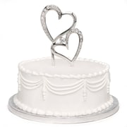 "HBH™ 7""(H) ""Double Heart"" Sparkling Love Cake Pick With Rhinestone Accents, Nickel-Plated"