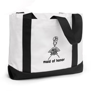 "HBH™ 14"" x 12"" x 5 1/4"" ""Maid Of Honor"" Canvas Tote Bag With Black Handles, White"