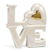 HBH™ 4(H) Porcelain Love Cake Top With Heart Accent, White/Gold