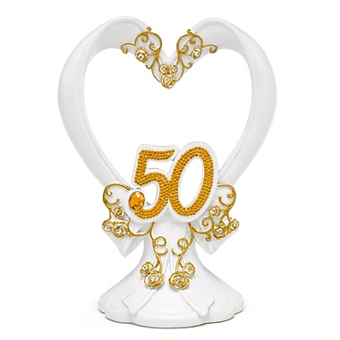 HBH™ 6in.(H) in.50thin. Anniversary Gilded Cake Top With Flourishes/Rhinestone Accents, White/Gold