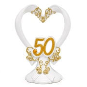 "HBH™ 6""(H) ""50th"" Anniversary Gilded Cake Top With Flourishes/Rhinestone Accents, White/Gold"