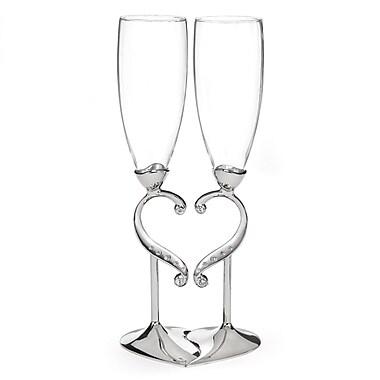 Hortense B. Hewitt, Linked Love Flute Glass, Clear/Nickel