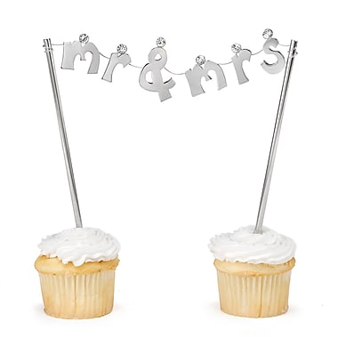 HBH™ 6in.(H) in.Mr. and Mrs.in. Banner Cake Pick With Large Rhinestone Accents, Nickel-Plated