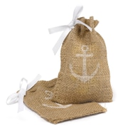 HBH™ Anchor Burlap Favor Bags With Twine Drawstring Closure, Brown