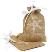HBH™ Starfish Burlap Favor Bags With Twine Drawstring Closure, Brown