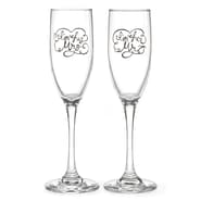 HBH™ I'm His/Her Flute Glass, Clear/Black