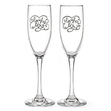 Hortense B. Hewitt, I'm His/Her Flute Glass, Clear/Black