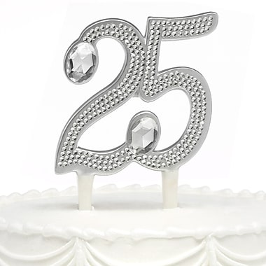 HBH™ 6in.(H) in.25thin. Anniversary Gilded Cake Pick With Sparkling Clear Rhinestone Accents, Silver-Tone
