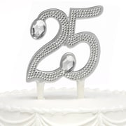 "HBH™ 6""(H) ""25th"" Anniversary Gilded Cake Pick With Sparkling Clear Rhinestone Accents, Silver-Tone"