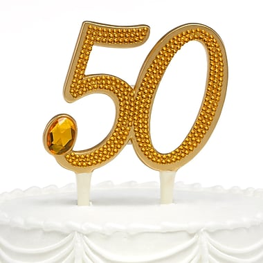 HBH™ 6in.(H) in.50thin. Anniversary Gilded Cake Pick With Gleaming Amber Rhinestone Accents, Gold-Tone
