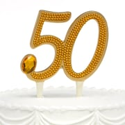 "HBH™ 6""(H) ""50th"" Anniversary Gilded Cake Pick With Gleaming Amber Rhinestone Accents, Gold-Tone"