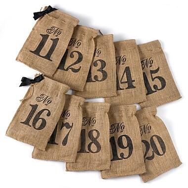 HBH™ 11-20 Burlap Table Number Wine Bags, Brown