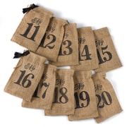HBH™ 11-20 Burlap Table Number Wine Bags, Brown