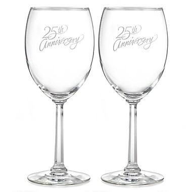 Hortense B. Hewitt, 25th Anniversary Wine Glasses, Clear
